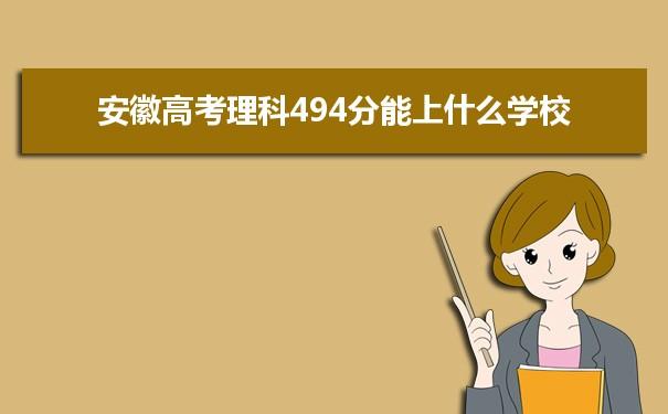 2021安徽高考理科494能上什么大学