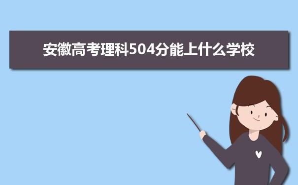 2021安徽高考理科504能上什么大学